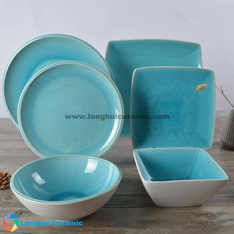 6pcs cracked ice glazed ceramic dinner set
