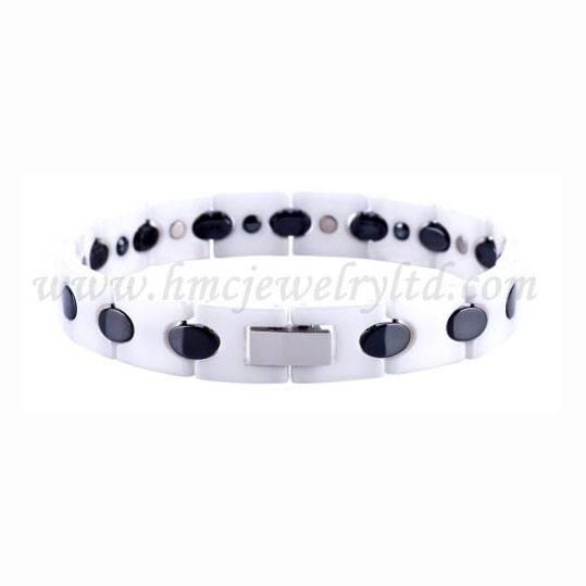 White ceramic germanium magnetic link bracelet