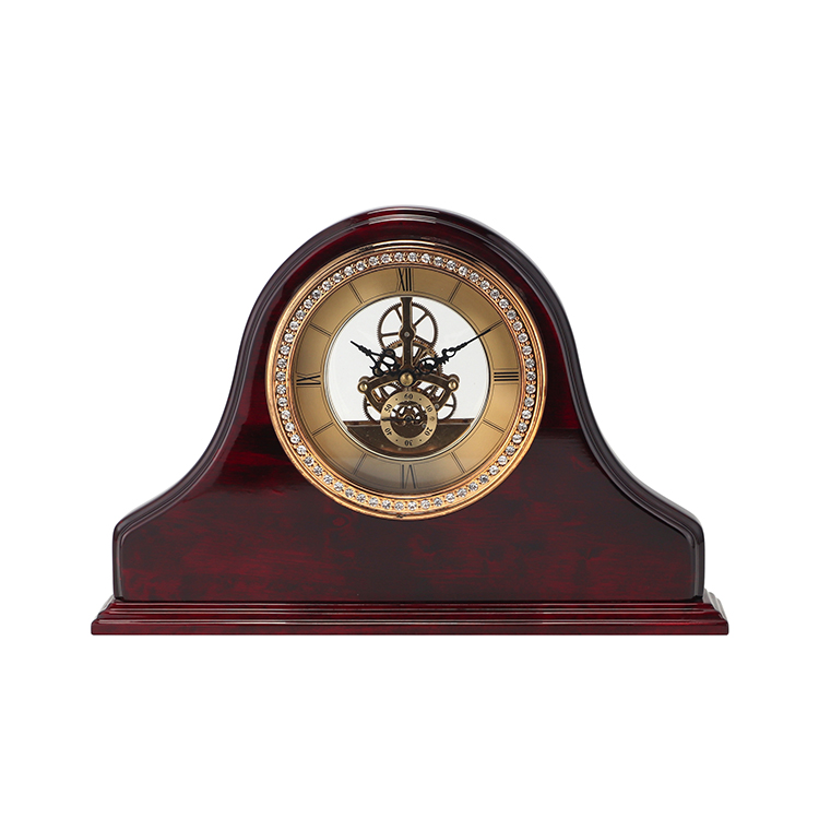 High quality glossy wooden jeweled desk clock