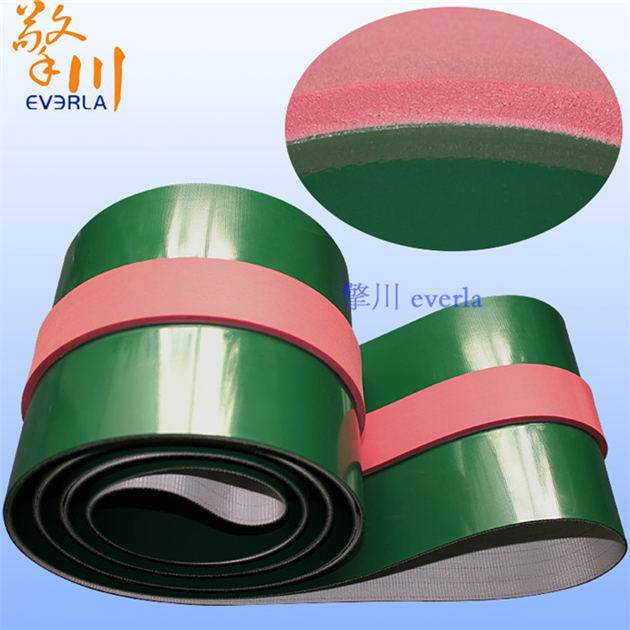 Article green PVC conveyer belt surface with red rubber mat high fixed conveying belt, professional