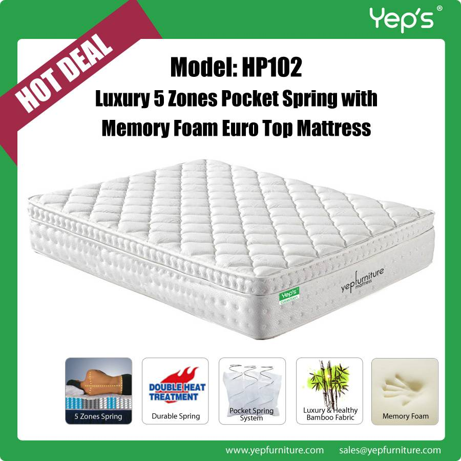 Star Hotels Luxury 5 Zones Pocket Spring with Memory Foam Euro Top Mattress