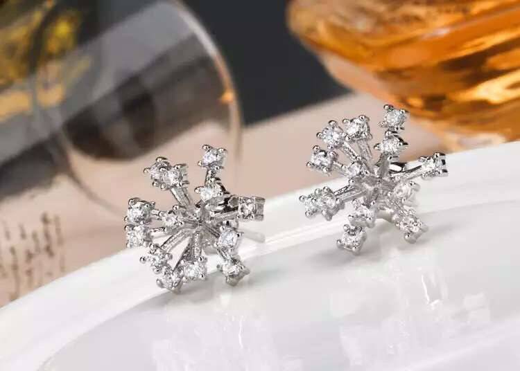 Snowflake Earrings S925 Silver and 18 K Gold