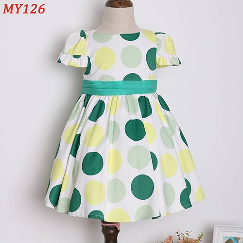 Amazing dots printed knee-length modern casual girls dresses for kids