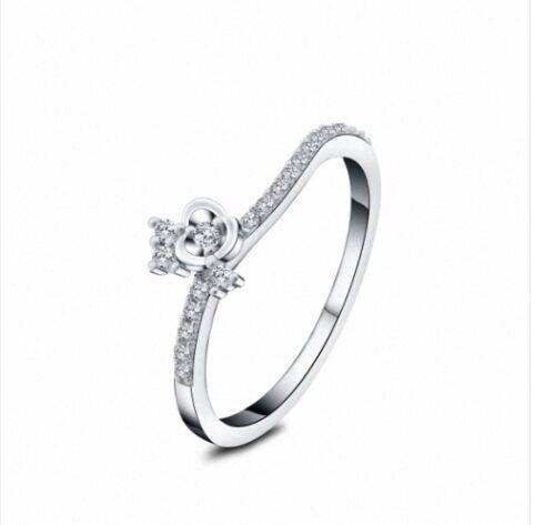 Hot recommended white crystal diomand girl silver gemstone ring for party