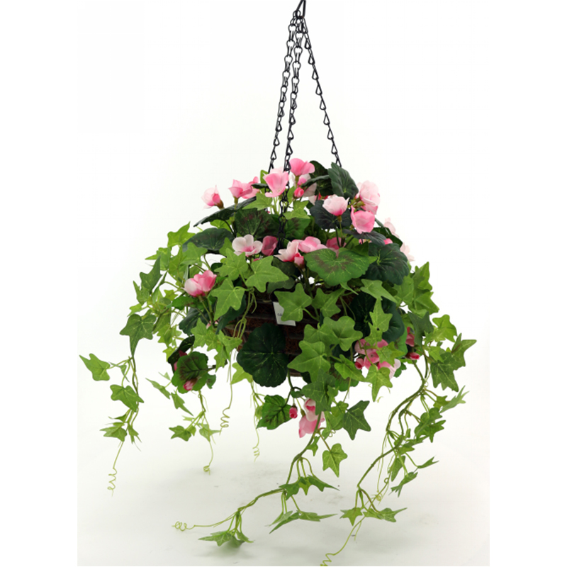 artificial begonia flower basket chrismas decoration with a pot