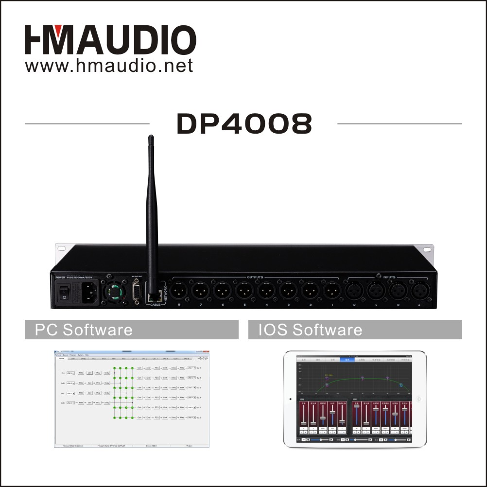Digital loudspeaker management 4 in 8 out with WiFi Function DP4008