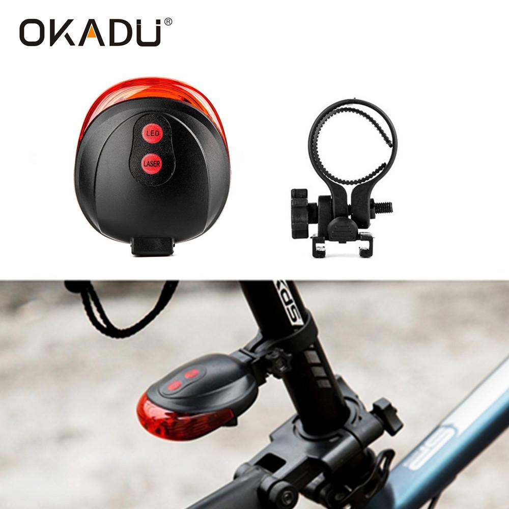 OKADU BL12 Safety Bicycle Light 5 Red LED + 2 Red Laser LED Laser Tail Bike Light