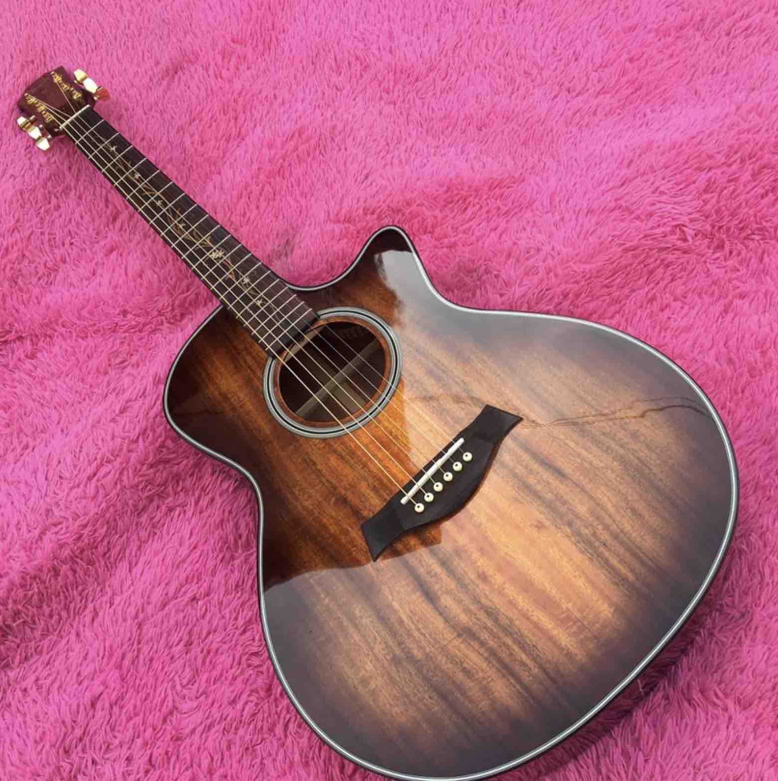 New Cutaway 41 Inch Gk24ce Rosewood Fingerboard Solid Koa Acoustic Electric Guitar