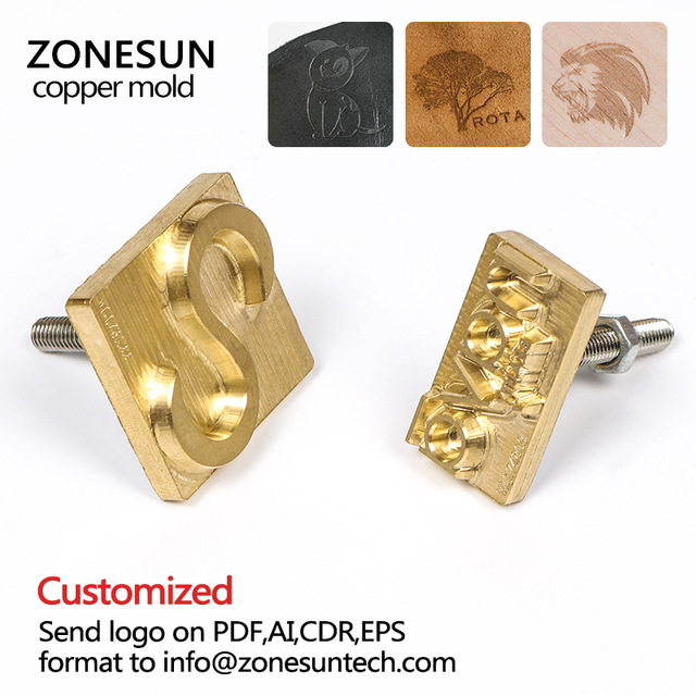 ZONESUN Metal Brass Mould Wood Leather Stamp CECILE Custom Logo Design Tool