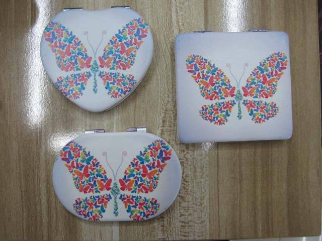 PU Big Butterfly Printed Cosmetic Mirror