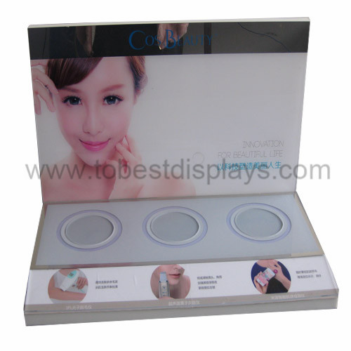 acrylic cosmetics display with LCD