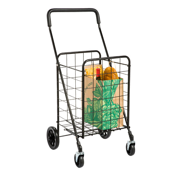 Utility Shopping Cart with Rolling Swivel Wheels