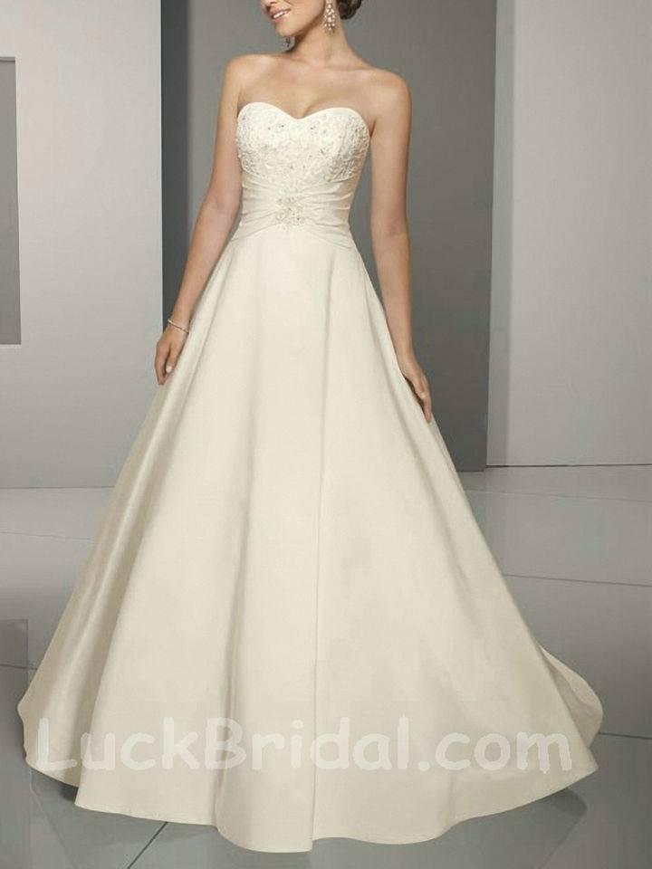 Modest Beaded Wedding Dress Strapless Sweetheart Bridal Gown