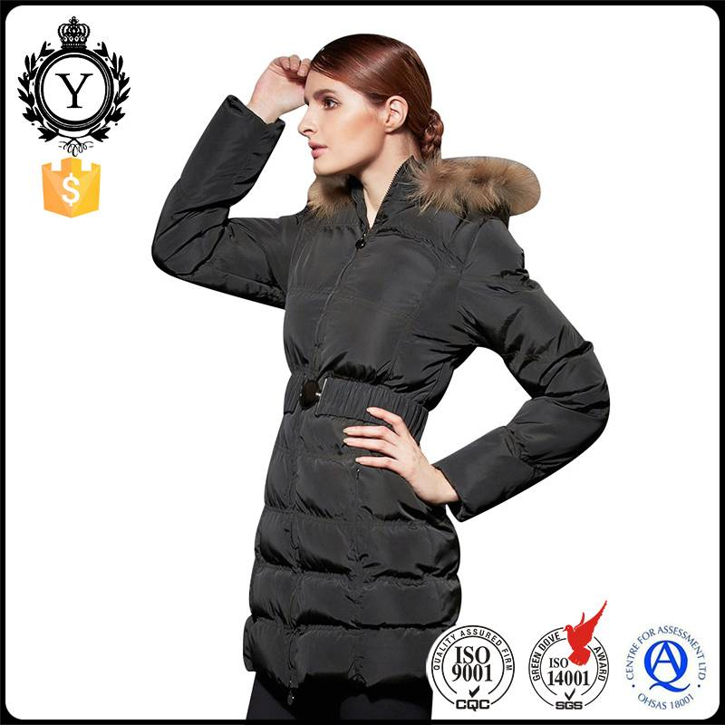 2016 COUTUDI slim waist belted fashion designed ladies wool real faux fur overcoat