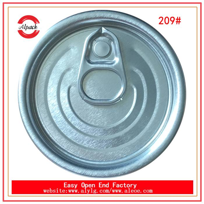 Full open can caps 209#aluminum easy open lid for canned mixed congee