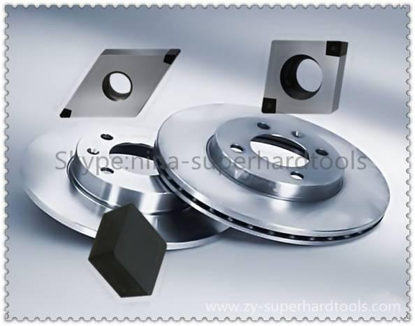 CNUN solid cbn inserts for machining brake disc
