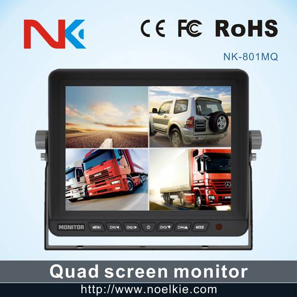 "8"" DC 12-24V quad Lcd Monitor with U style bracket"