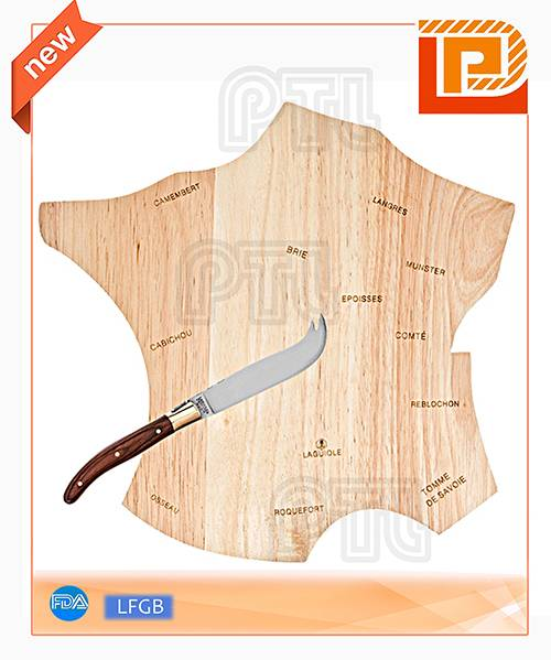 polygonal wooden cheese cutting board