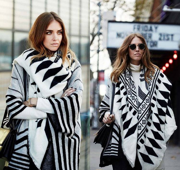 Winter Fashion Women Black white color Geometry pattern over sized knit scarf gift for girl
