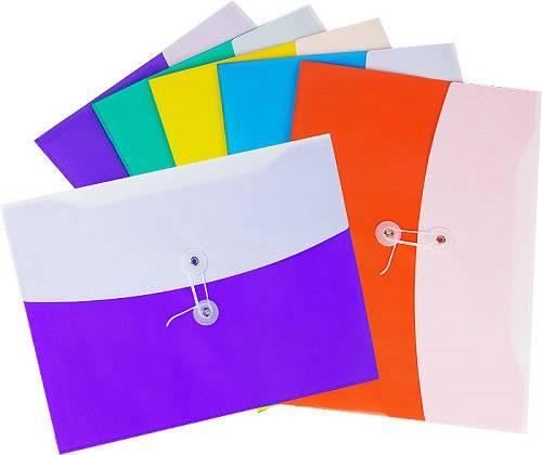 PP Office Stationery Double Color File Bag A4 Envelope Holder