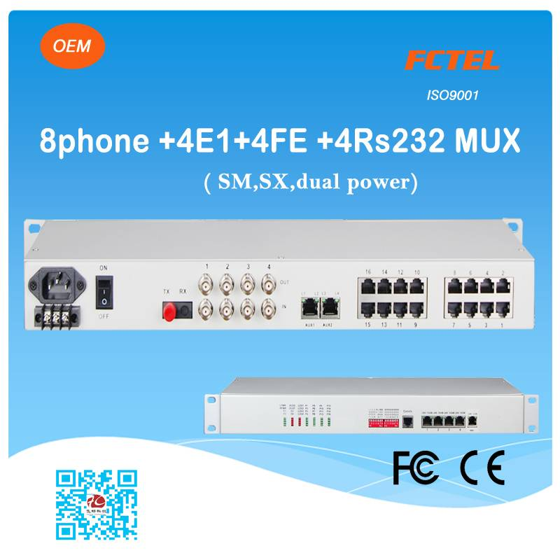 19 inch 8 POTS 4E1 4Ethernet 4rs232 optical transceiver