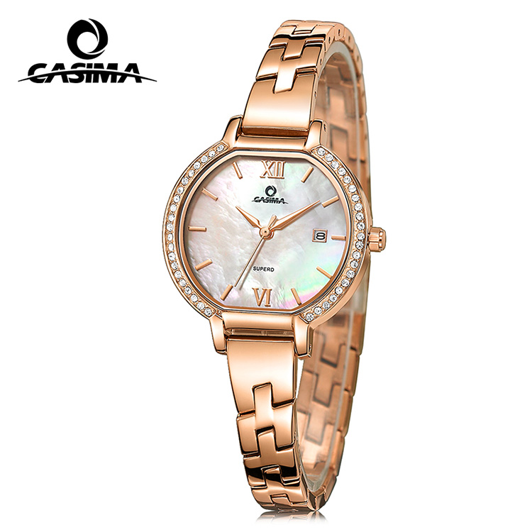 Ladies gold plated wrist watch with pearl shell surface