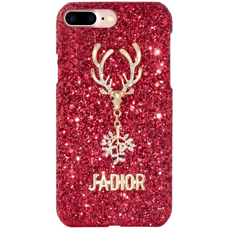 Hot Sale Bling Red Deer Cases Covers Mobile for iPhone 6/7/8 Plus Women Wholesale