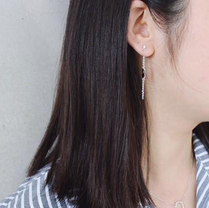 Chic Black CZ 925Silver U Chain Dangle Earrings