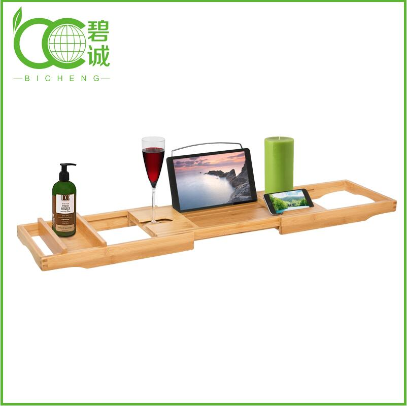 Bathroom Furniture Eco-Friendly Bamboo Bathtub Caddy Tray with Extending Sides