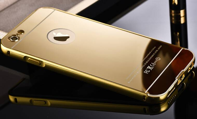 2015 luxury 24K gold plating aviation aluminum alloy Iphone6/plus cellphone cases with Acrylic mirro