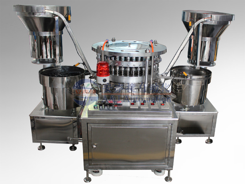 Multi-functional robber stopper and cap assembe machine