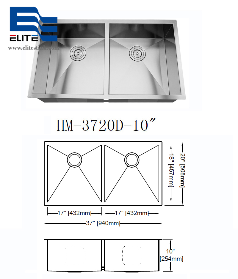 extra large Stainless Steel Double offset Undermount Kitchen Sink
