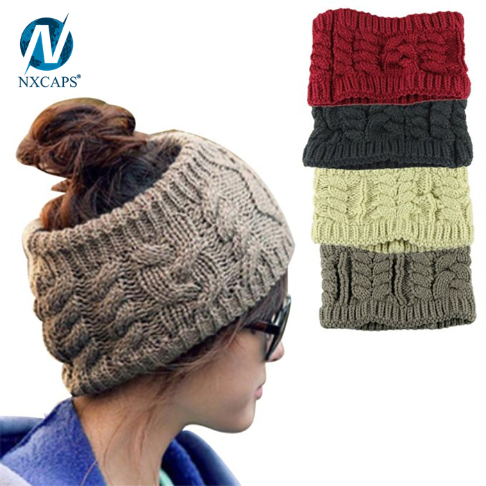 Custom messy bun hat & knit beanie cap and hats