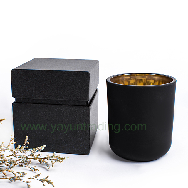 Classical Matte Black Glass Candle Holder with Gift Box Packing