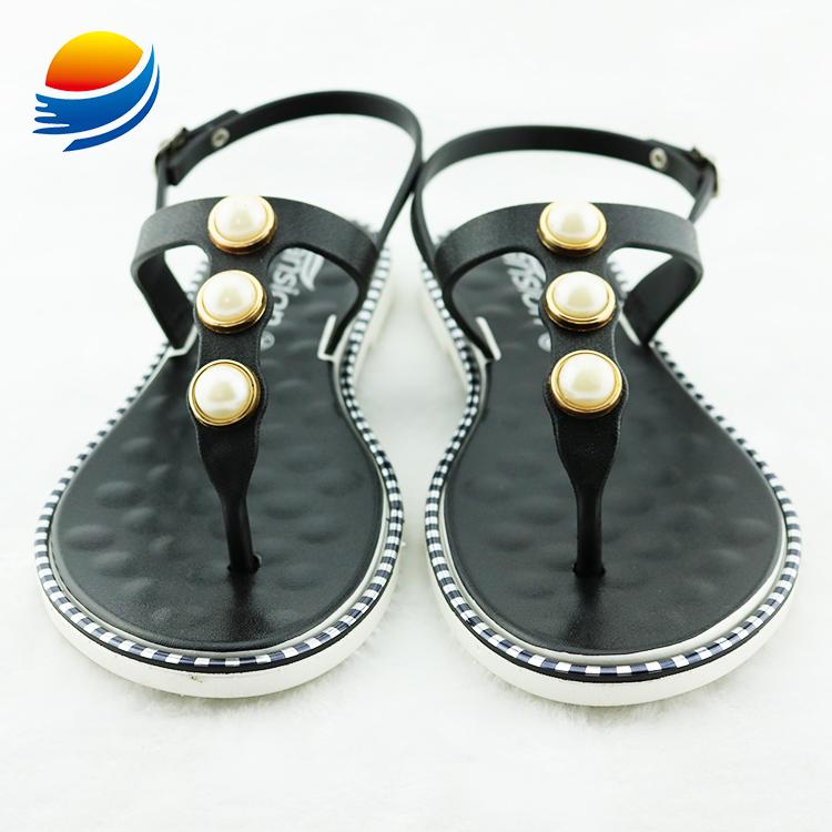 Fashion T Strap Flat PVC Women Sandals