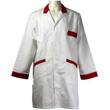 White Lab Coat Contrast Red Trimming QWTW-WKW-UNF-030