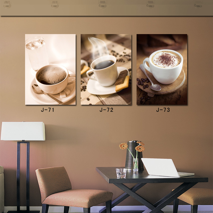 3 Panel Wall Art Coffee Cup Modern Wall Paintings for Room Decor Ready to Hang