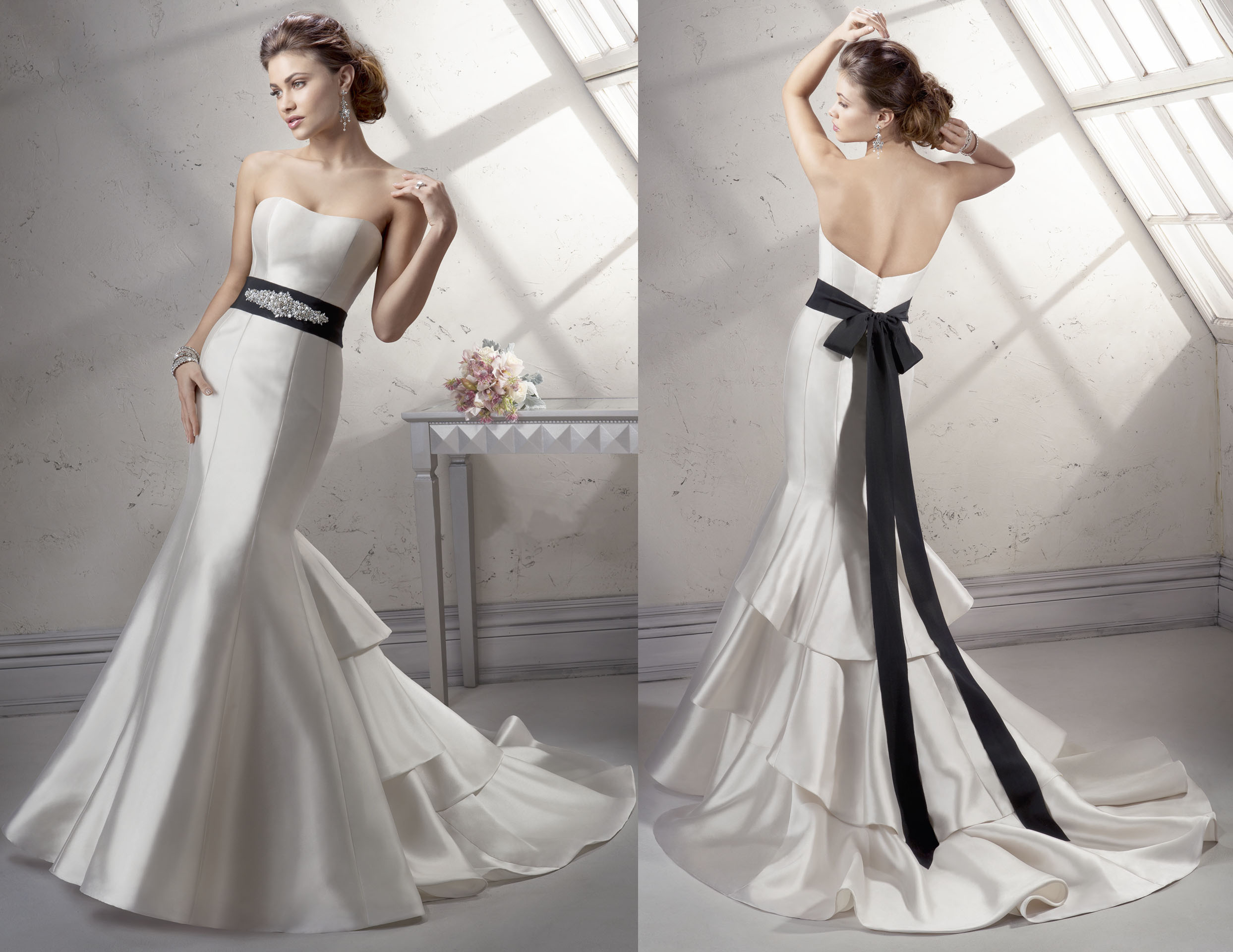 Strapless Sweetheart Wedding Dress Mermaid With Black Sash Chengyu