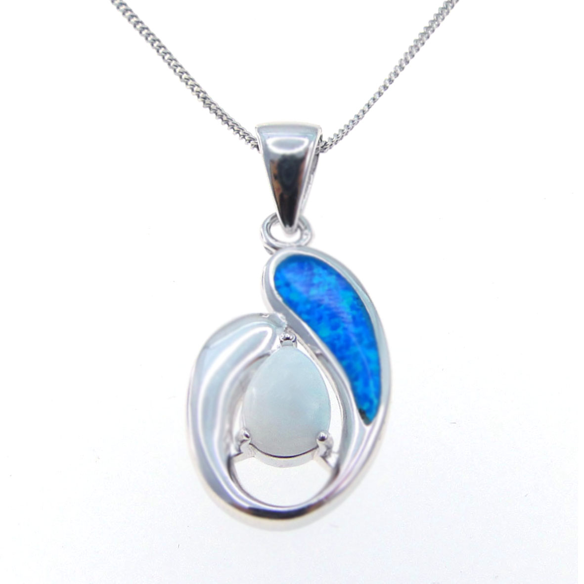 925 sterling silver blue opal with natural blue larimar pendants for wholesale