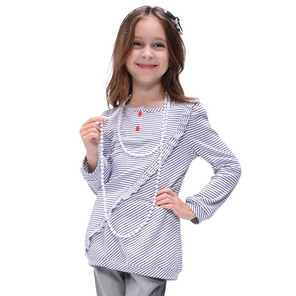 100% cotton long sleeve stripe T-shirt for girls,child clothing(GT-118S3)