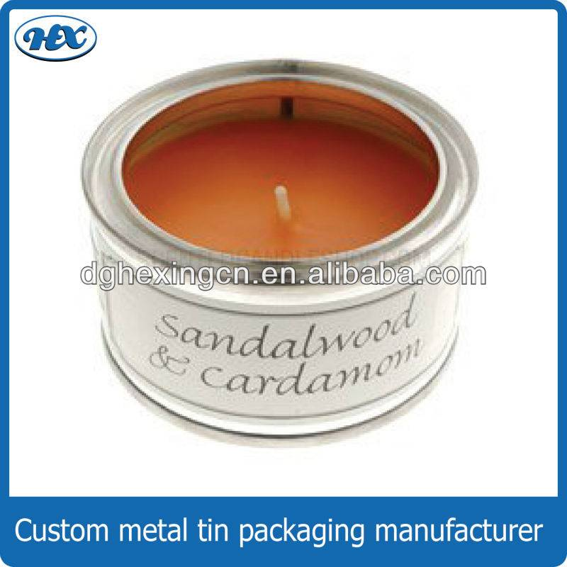 Round clear window candle tin box