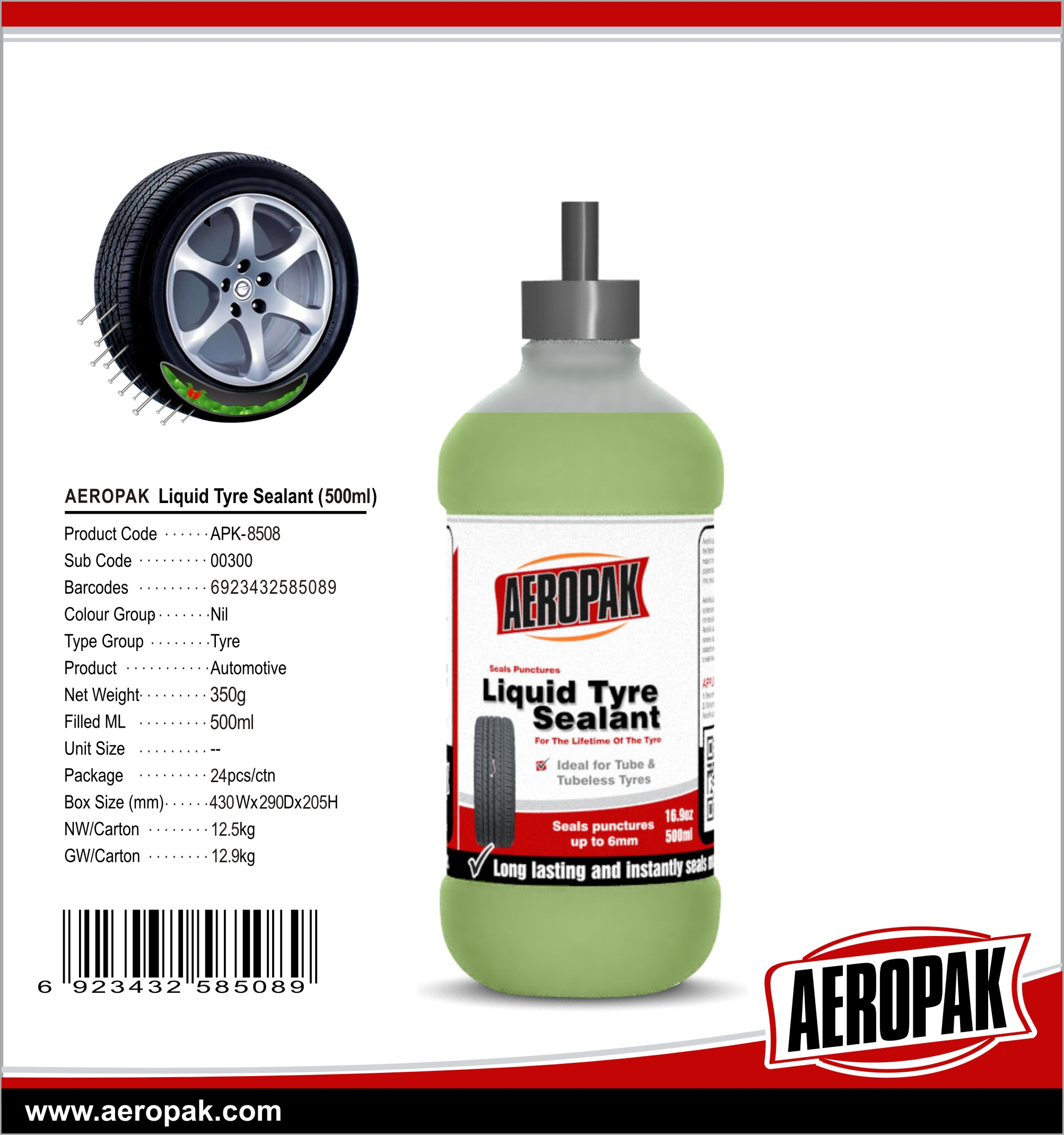 AEROPAK Good Quality Liquid Tyre Sealant for Tubeless