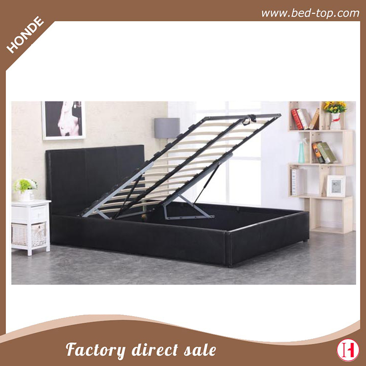 Modern Upholstered Faux Leather Gas Lift Mechanism Storage Bed