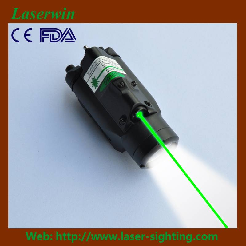laserwin tactical green laser sight/scope & led light combination for pistols or rifles