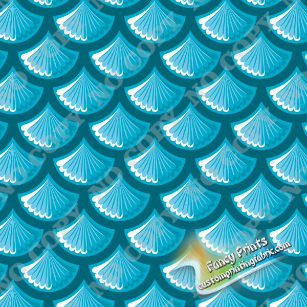 scale under blue background print for 93% Polyester 7% Spandex Waterproof Swim Fabric
