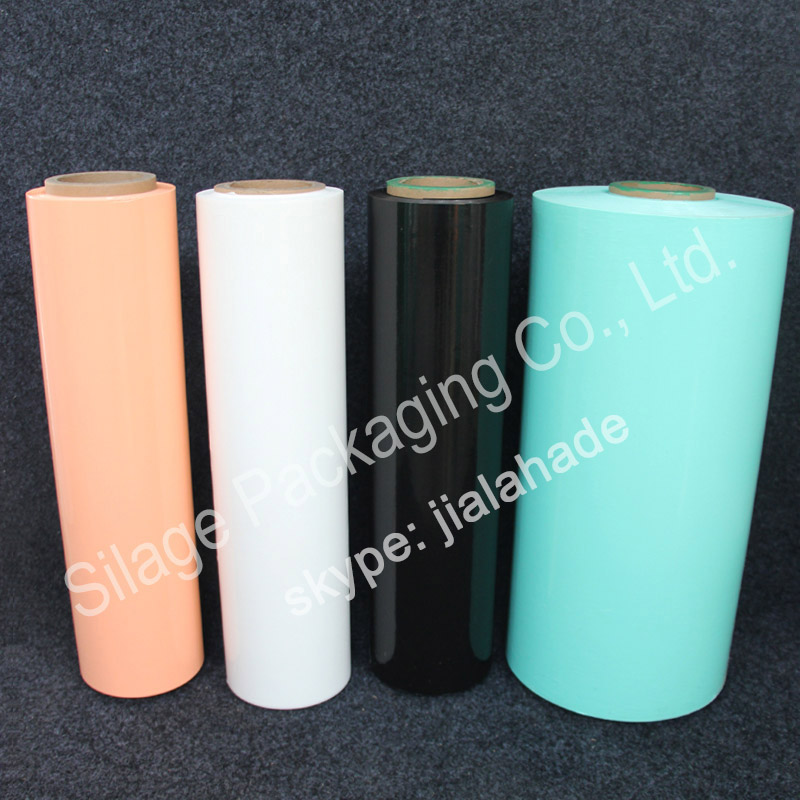 Black/Orange Silage Film, 500mm25mic1800m, Recycle 100%LLDPE Film for Germany Farm Packing