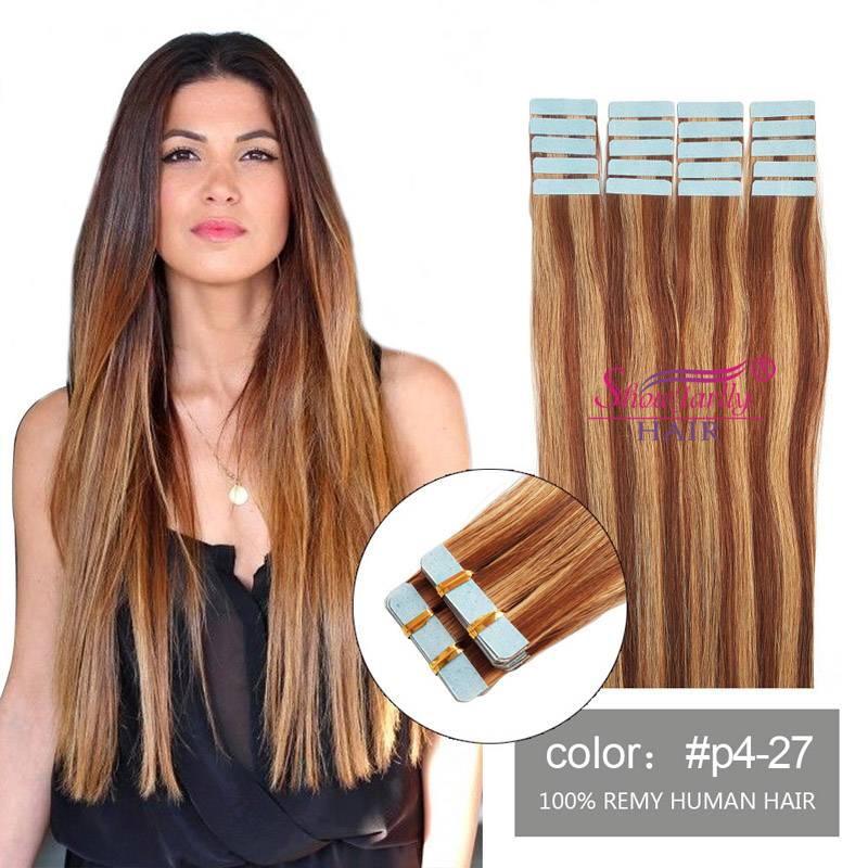 PU weft hair extensions #P4/27