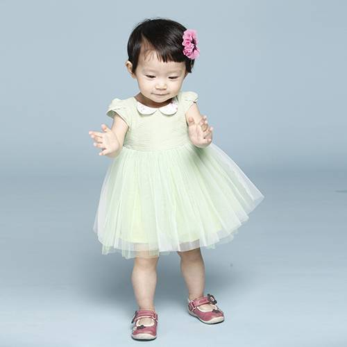 Cap Sleeve Voile Party Dress For Cute Baby Girls
