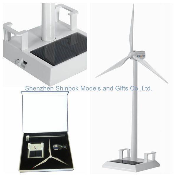 Metal Sloar Wind Turbine Model with Name Card Holder