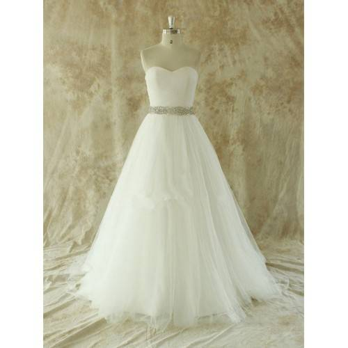 GLAMOROUS BALL GOWN TULLE SWEETHEART STRAPLESS BELT WITH RHINESTONES CHAPEL TRAIN WEDDING DRESS W803